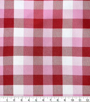 Valentine's Day Cotton Fabric-Shades Of Pink Plaid