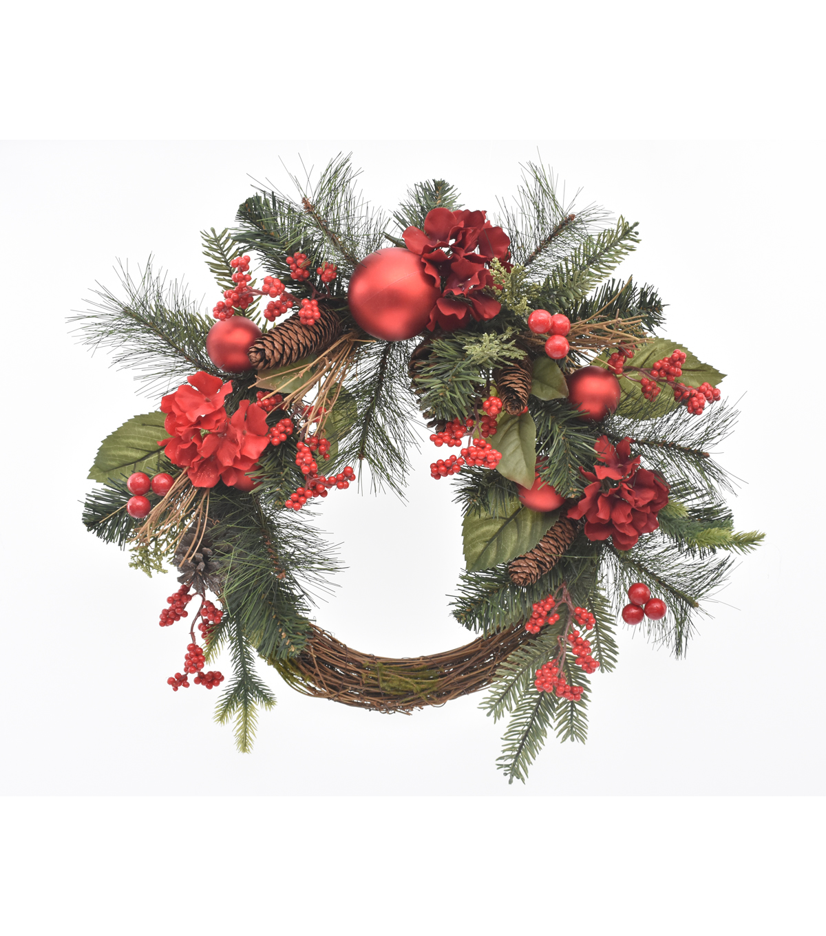 Blooming Holiday Christmas 22'' Hydrangea, Berry & Pinecone Wreath Red                      Blooming Holiday Christmas 22'' Hydrangea, Berry & Pinecone Wreath Red by Blooming Holiday