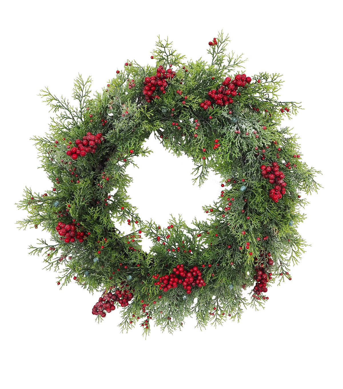 Blooming Holiday Christmas Glisten Red Berry & Cyprus Wreath                      Blooming Holiday Christmas Glisten Red Berry & Cyprus Wreath by Blooming Holiday