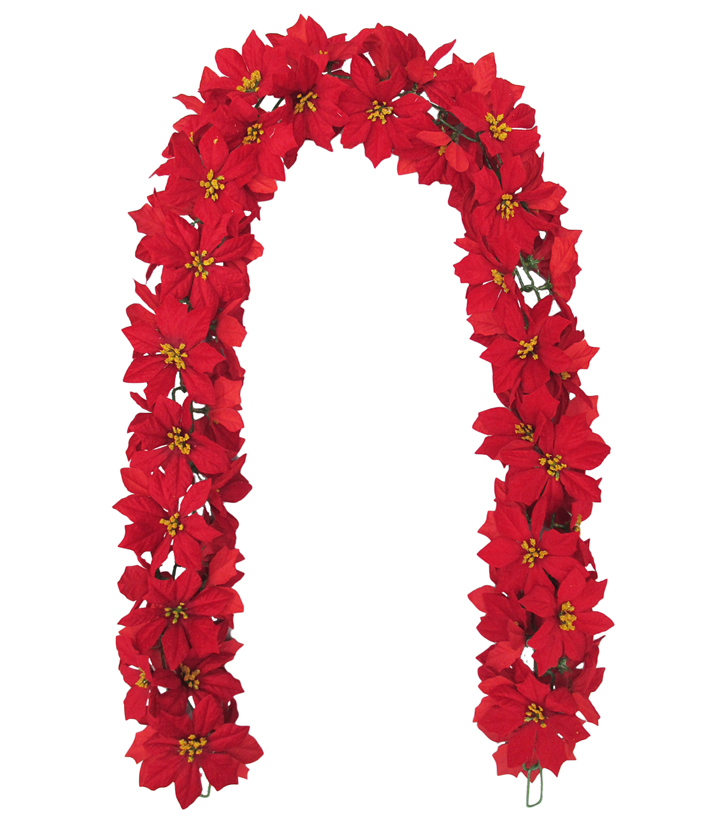 Blooming Holiday Christmas 5''x66'' Poinsettia Chain Garland Red                      Blooming Holiday Christmas 5''x66'' Poinsettia Chain Garland Red by Blooming Holiday