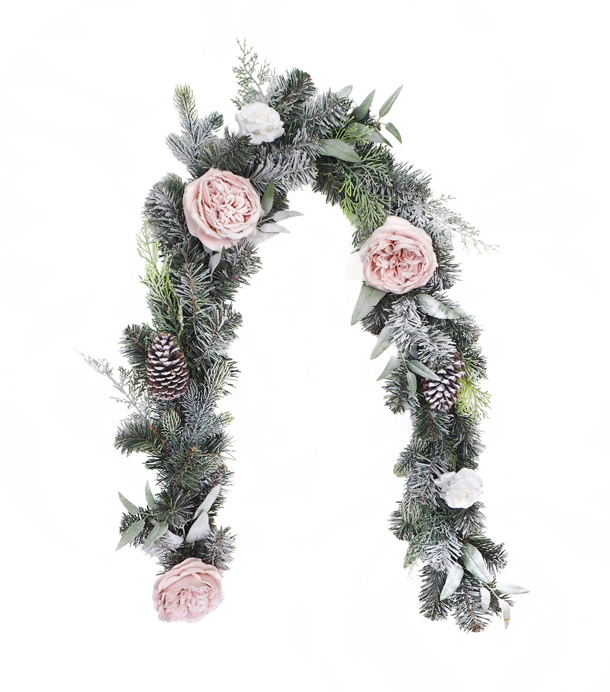 Blooming Holiday Christmas 3''x66'' Frosted Rose & Pinecone Garland                      Blooming Holiday Christmas 3''x66'' Frosted Rose & Pinecone Garland by Blooming Holiday