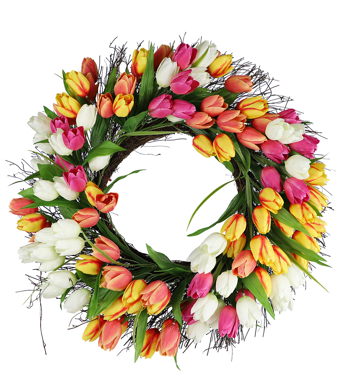 Fresh Picked Spring 22'' Tulip & Grapevine Wreath Multicolored                      Fresh Picked Spring 22'' Tulip & Grapevine Wreath Multicolored by Fresh Picked Spring