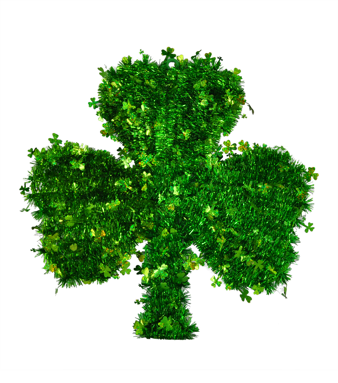 St. Patrick's Day Decor 16.75''x17'' Shamrock Shaped Tinsel Wreath                      St. Patrick's Day Decor 16.75''x17'' Shamrock Shaped Tinsel Wreath by Joann