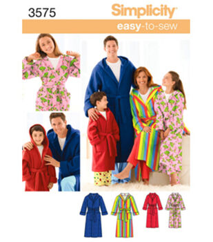 Simplicity Pattern 3575A Child & Adult Unisex Robes-Size XS-L/XS