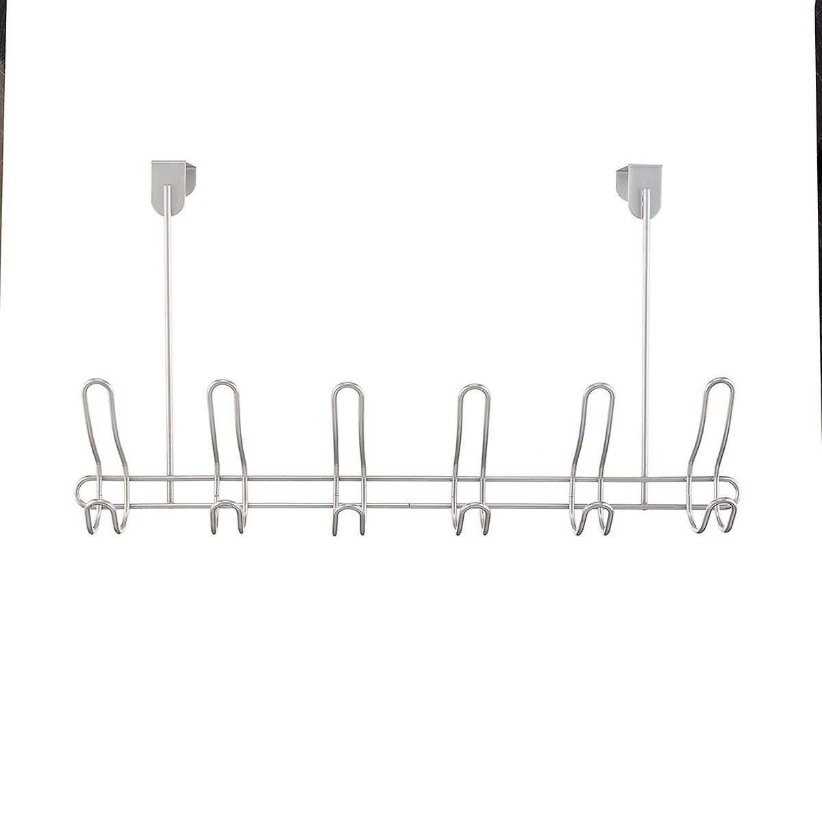Silver Over The Door 6 Hook Rack by Container Store