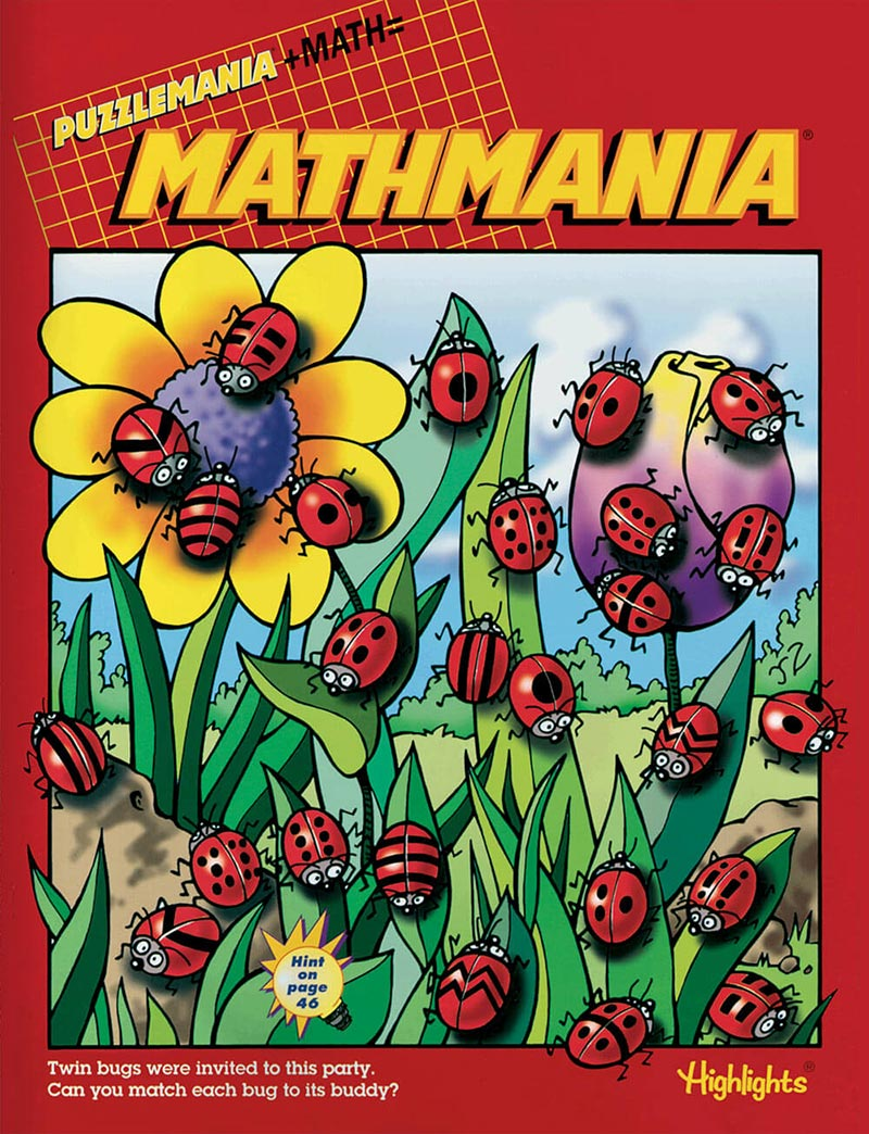 Cover of Mathmania, a kids book club from Highlights featuring math puzzles for kids.