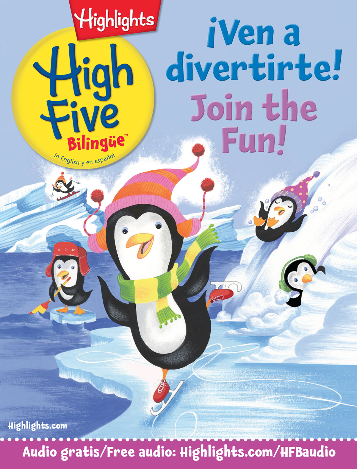 Cover of Highlights' High Five Bilingüe, a magazine for young children — in Spanish and English
