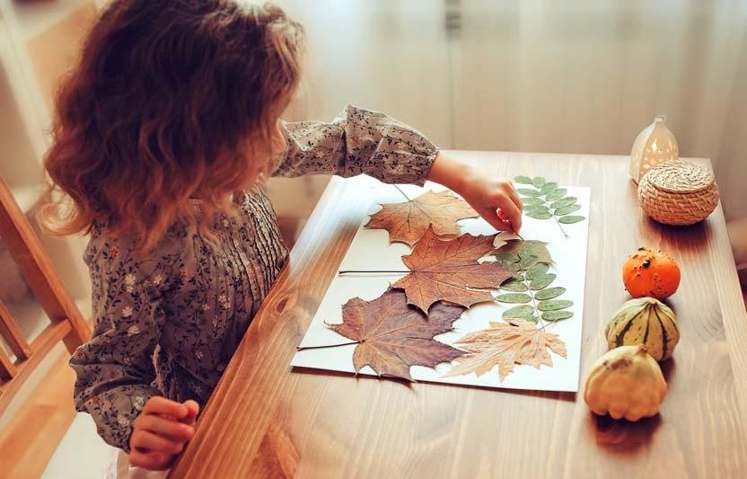 Girl pressing fall leaves in scrap book