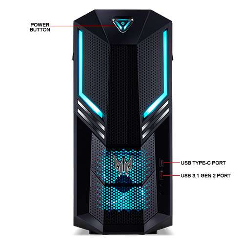 Image Callout - Acer Predator Orion 3000 PO3-600 Tower Gaming Desktop PC - 9th Gen Intel Core i5-9400F 6C 2.9GHz, 8GB DDR4, 256GB SSD, DVDRW, GeForce RTX 2060, USB-C, 3x DP, BT, Win 10 Pro 64-bit - DG.E1BAA.006