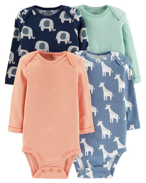 Baby Boy 4-Pack Animal Original Bodysuits