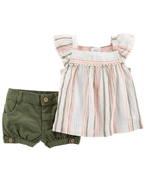 2 Piece Striped Gauze Top & Short Set by Carter's