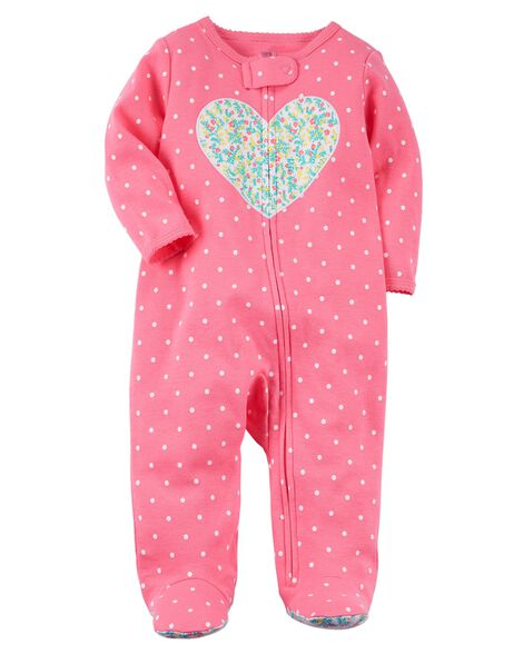 Zip Up Heart Cotton Sleep & Play by Carter's