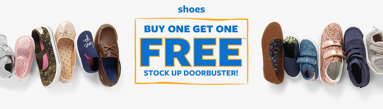 shoes buy one get one free stock up doorbuster!