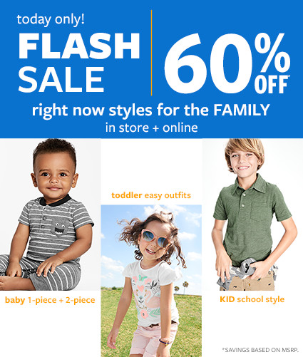 today only! | flash sale | in store and online | 60% off msrp