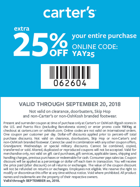 extra 25% off your entire purchase valid through 09/20/18