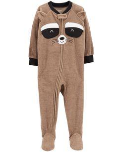 1-Piece Raccoon  Fleece PJs