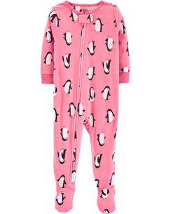 1-Piece Penguins Fleece PJs