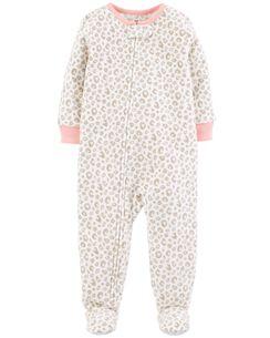 1-Piece Leopard Fleece PJs