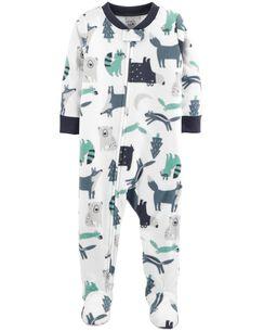 1-Piece Woodland Creatures Fleece PJs