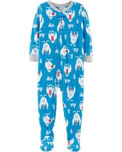 1-Piece Abominable Snowman Fleece PJs