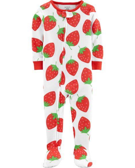 1 Piece Strawberry Snug Fit Cotton Footie P Js by Carter's