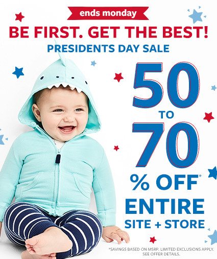 ends monday | be first. get the best! presidents day sale | 50 to 70% off msrp entire site + store