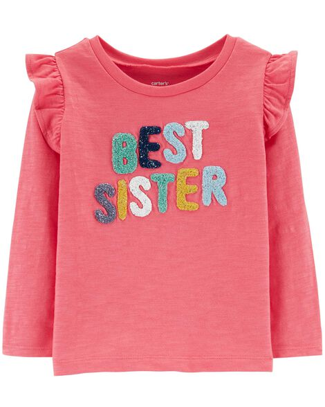 Best Sister Slub Flutter Top by Carter's