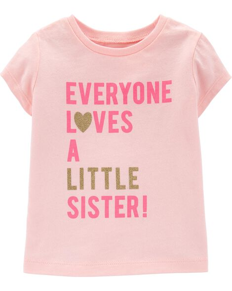 Glitter Little Sister Jersey Tee by Carter's