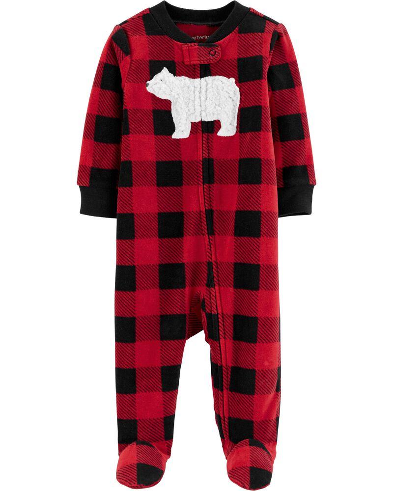 Christmas pajamas for baby boy with buffalo plaid and a polar bear