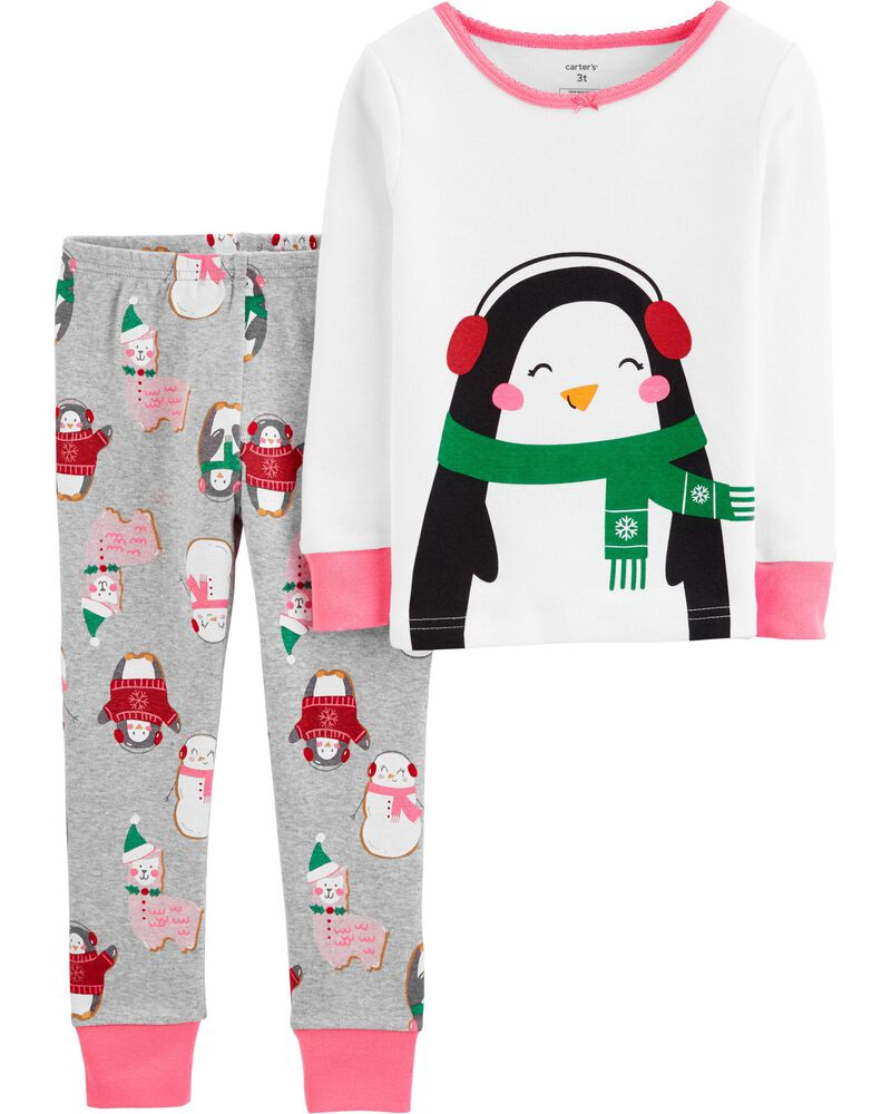 toddler Christmas pajamas with penguins and cats