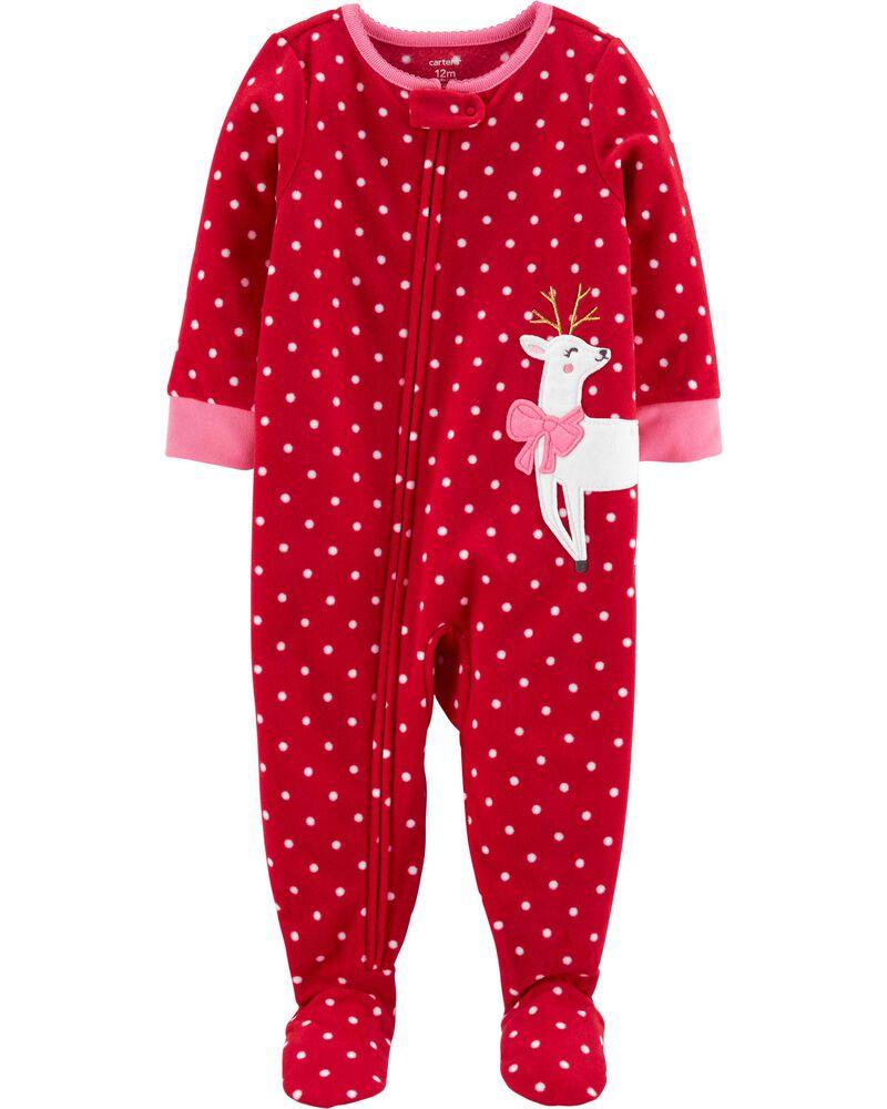 Christmas pajamas for baby girl with a reindeer and polka dots