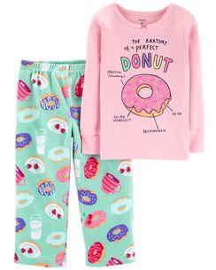 2-Piece Glitter Donut Snug Fit Cotton & Fleece PJs