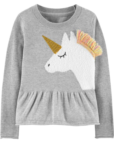 Unicorn Peplum Sweater by Oshkosh