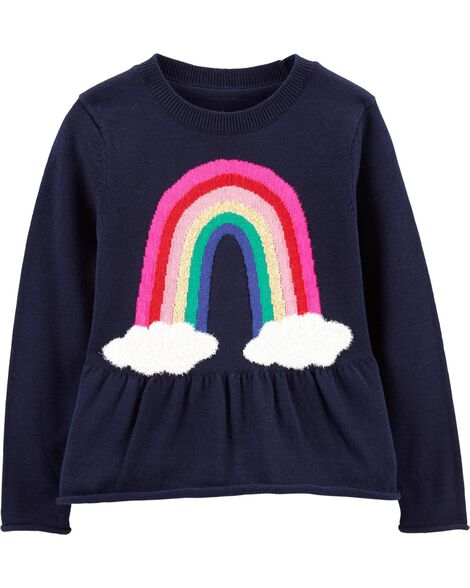 Rainbow Peplum Sweater by Oshkosh