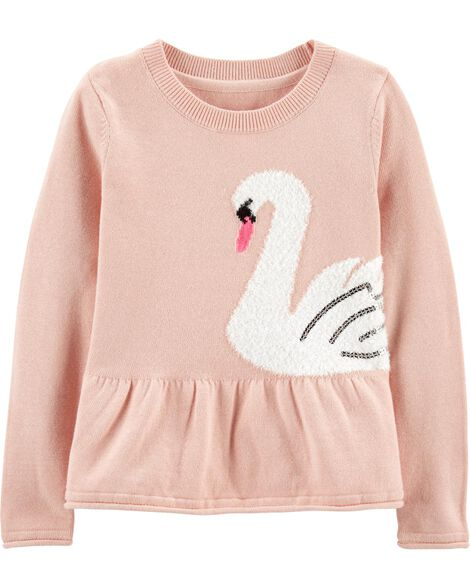 Swan Peplum Sweater by Oshkosh